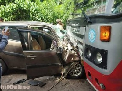 Car rams KSRTC bus, three killed in Sullia near Mangaluru