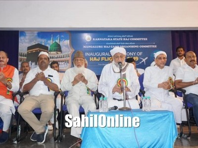 Minister U T Khader flags off first batch of Haj pilgrims in Mangaluru