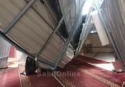 بھٹکل میں طوفانی بارش جاری؛ فاروقی اسٹریٹ کی عارضی عبادت خانہ کی چھت بیٹھ گئی؛ شرالی میں ہائی وے پر  پانی جمع