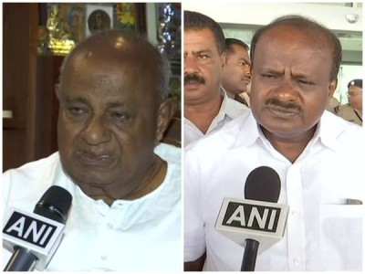Upset Over Congress Leaders Remarks, HD Deve Gowda Meets Son Kumaraswamy