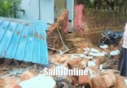 Heavy rain lashes Bhatkal: compound wall collapses on Bunder road
