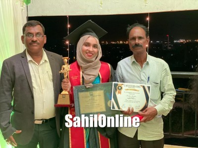 Dr Aneesa Shaikh of Bhatkal bags award for her achievements in Dental field in Mangaluru