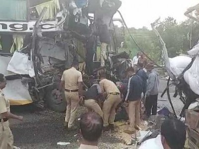 6 dead, several injured as bus rams into truck on Pune-Bengaluru Highway