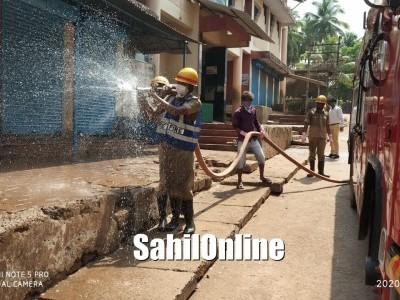 Disinfectant sprayed on various streets of Ankola to contain spread of Coronavirus