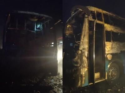 چترادرگہ میں کے ایس آر ٹی سی بس کو لگی آگ۔ تین بچوں سمیت پانچ مسافر زندہ جل کر ہوگئے ہلاک