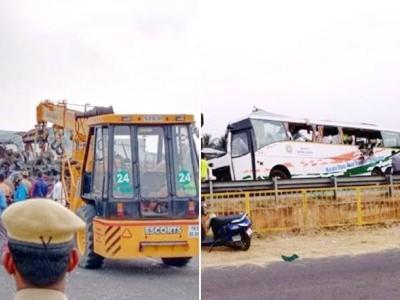 تملناڈو میں بس اور کنٹرینر ٹرک کے درمیان بھیانک ٹکر، 20 کی موت 24 زخمی
