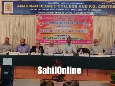 International seminar on 'Economic slowdown in India' held at Anjuman College Degree in Bhatkal