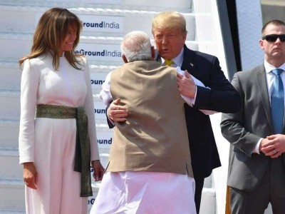 PM Modi hugs Trump as he lands in India on first visit