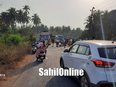 Pedestrian dies after being hit by a bus on Kumta NH-66