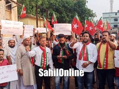 بھٹکل ایس ڈی پی آئی کی جانب سے تحصیلدار دفتر کے سامنے دہلی فسادات کی مذمت میں احتجاج