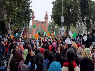 AMU students take out balloon march against CAA, NRC, NPR