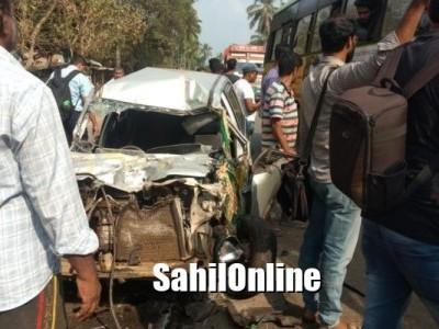 کاروار کے چنڈیا قومی شاہراہ پر کار اور ٹپر کی ٹکر : میاں بیوی دونوں ہلاک ؛ دو شدید زخمی