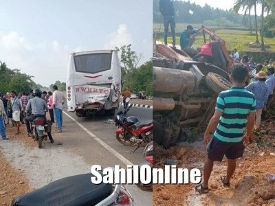 Bus-Truck collision on Kumta NH-66; 2 serious among 4 injured