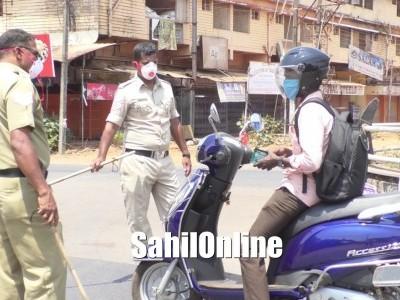 Bhatkal: Police take stern action against COVID-19 lockdown violators
