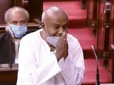 HD Deve Gowda Takes Rajya Sabha Oath,