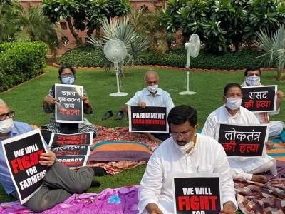 راجیہ سبھا میں حزب اختلاف کے 8 ممبران معطل