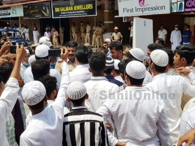 People objects construction work at Naagarkatte near Old Bus stand in Bhatkal