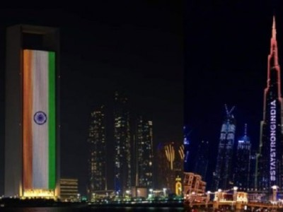 Landmarks across UAE lit up with tricolour to support India's COVID-19 battle
