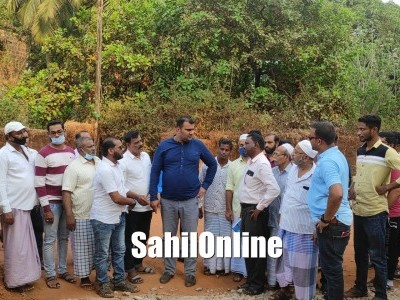 Foundation laid for road construction works at Mohiuddin street 3rd cross in Bhatkal