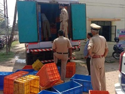غیر قانونی طور پر منگلورو پہنچانے کے لئے تیار کیا جارہا 4 ٹن بیف اور7موٹر گاڑیاں ضبط ۔ 2 ملزمین گرفتار