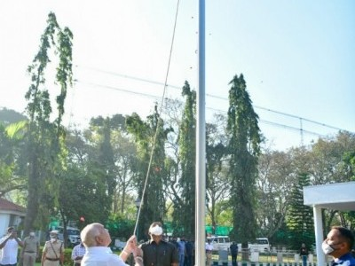 Karnataka chief minister B S Yediyurappa hoists national flag at his residence on Republic Day