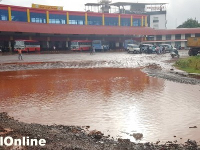 Entrance of newly constructed hitech Bhatkal bus stand convert into pond; AC Mamata Devi and Tahsldar Ravi Chandra  rush and directed to resolved the issue to officers
