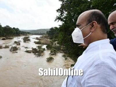 CM Basavaraj Bommai visits flood affected areas in Yellapur
