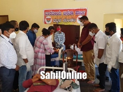 Blood donation camp organised by BJP Bhatkal Unit at BCM student hostel opp Govt taluka hospital