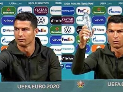 Soccer: 'Drink water!'-Ronaldo removes Coca-Cola bottles at Euro press conference