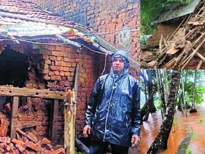 اترکنڑا ضلع میں پچھلے دودنوں سے بارش میں کمی : گھروں کو نقصان ، درخت اور بجلی کے کھمبے زمین بوس