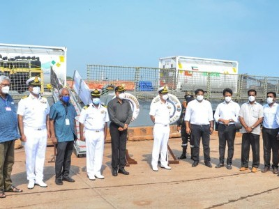 INS Kolkata arrives at New Mangalore Port with medical supplies from Qatar and Kuwait