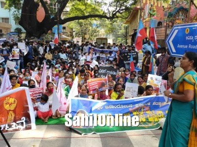 Protest in Bangalore against increasing attacks by Hindutva groups; demands CM Bommai to withdraw his statement encouraging sectarian violence