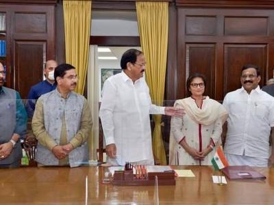 Selvaganabathy, Sushmita Dev take oath as new RS members